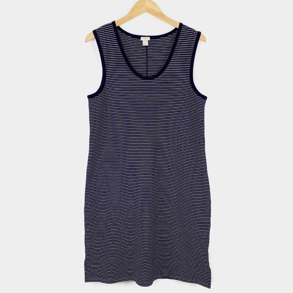 J. Crew Factory Dresses & Skirts - J Crew Sleeveless Knit Dress Blue White Striped M
